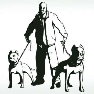 Vinyl Wall Decal Sticker Gangsta w/2 PitBull Dogs BIG