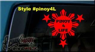 PINOY Philippine FLAG SUN & STARS VINYL STICKER DECAL