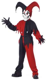 Wicked Evil Jester Clown Child Halloween Costume