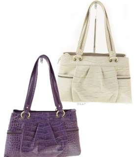 MICHAEL ROME CROCODILE EMBOSSED LEATHER SATCHEL w/ ZIPPER SHOULDER