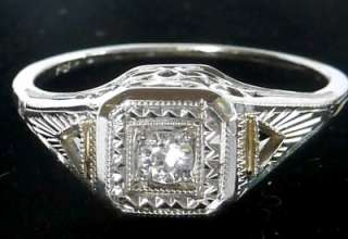 18K WHITE GOLD ART DECO OLD MINE CUT DIAMOND ENGAGEMENT RING~SIZE 6.75