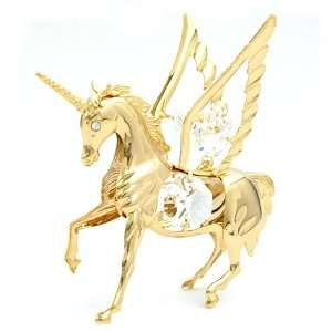 FLYING UNICORN, CRYSTAL ELEMENTS, GOLD PLATED, NEW: Home