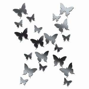 Plexi Mirror Butterfly Wall Stickers, 20 Pieces