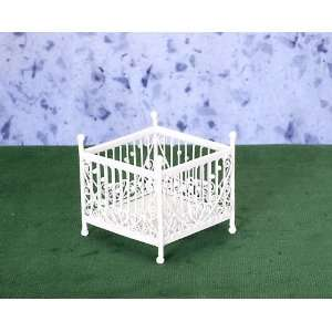 Dollhouse Miniature White Wire Playpen