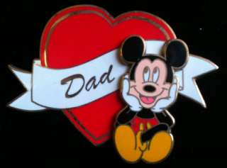 Disney Mickey Mouse Dad Heart Fathers Day Pin NEW