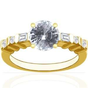 14K Yellow Gold Round Cut White Sapphire Ring With
