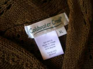 COLDWATER CREEK Womens XL Brown Lace Knit Belted Wrap Cardigan