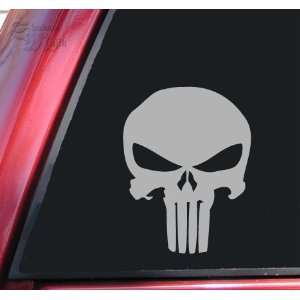 Punisher 2K Skull Vinyl Decal Sticker   Grey Automotive