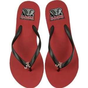 Alabama Crimson Tide Womens Crimson School Gem Flip Flops