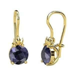 Gem Flame Earrings, Round Iolite 14K Yellow Gold Earrings Jewelry