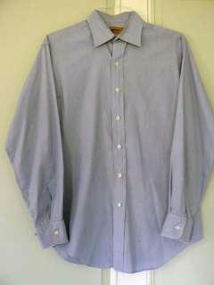 Paul Stuart   Made in USA   Thin Blue Strip Dress Shirt   15.5 34