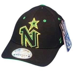 MINNESOTA NORTH STARS BLACK FLEX FIT MED LG HAT CAP