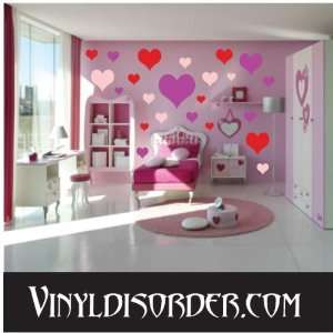 24 Heart Hearts Vinyl Wall Decal Stickers Kit Everything