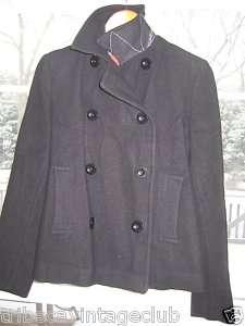 PAUL SMITH Black Short Wool Pea Coat 42