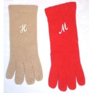 Set of Two Imported Red and Beige Angora Wool Gloves