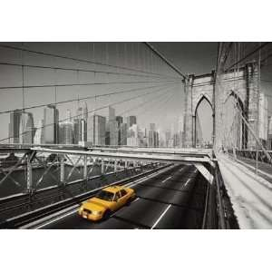 New York Yellow Taxi Cab Brooklyn Bridge PAPER POSTER