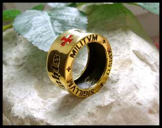 © KNIGHTS TEMPLAR 24K GOLD MASONIC PL RING CROSS SEAL   B15G