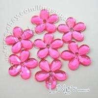 50pcs HOT PINK 12mm Flatback Flower Rhinestone Confetti
