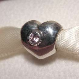 AUTHENTIC PANDORA Sterling Silver with Pink CZ HEART Charm 790134PCZ