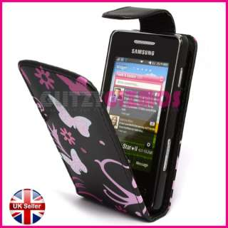 PINK BUTTERFLY DESIGN LEATHER FLIP CASE COVER POUCH FOR SAMSUNG STAR 2