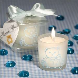 Candle Glass Teddy Bear Baby Blue (30 per order) Baby