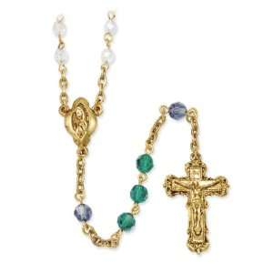 Gold tone, blue, green & Aurora Borealis crystal rosary Jewelry