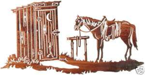 HORSE OUTHOUSE METAL ART WALL HANGING WESTERN DECOR