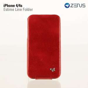 iPhone 4/4S Leather Case Estime Genuine Leather Folder Series   Red