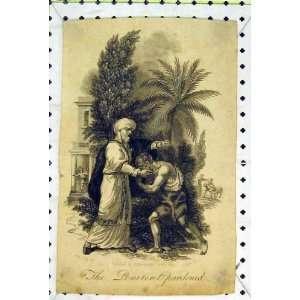 Antique Print Penitent Pardoned Man Begging Garden Tree