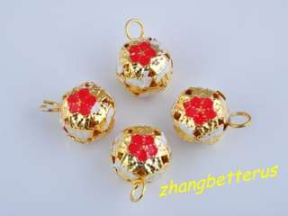 30 Pcs Painted Flower Gold Plated jingle bells beads Xmas charms