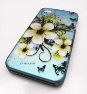 OCEAN TURQUOISE FLOWERS HARD SHELL CASE COVER APPLE IPHONE 4 4s PHONE