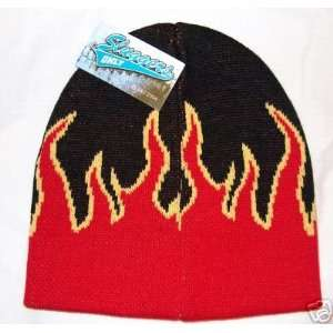 Black & Yellow Flame Design Knit Beanie Ski Cap Hat