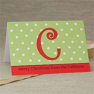 Custom Printed Christmas Cards   Polka Dot Monogram