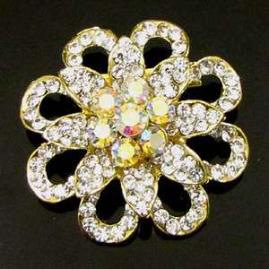 ADDL Item  1pc Rhinestone crystal flower brooch pin