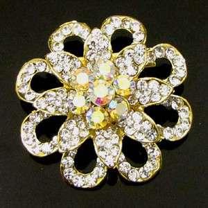 ADDL Item  1pc Rhinestone crystal flower brooch pin