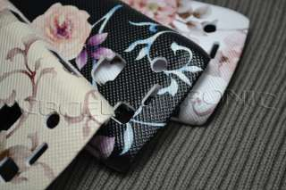 New Pink Flower PU leather stick hard case cover for Blackberry 9700