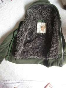 Hollister Faux Fur Lined quilted Coat JACKET hooded FURlined xs