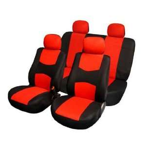 FH FB050114 Flat Cloth Car Seat Covers Red / Black Color