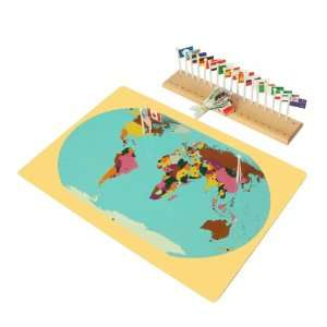 Montessori World Map, Flags and Stand Toys & Games