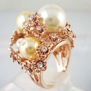 Gorgeous flower pearl head Silver gold plated ring R168