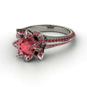 Pave Lotus Ring, Round Ruby 14K White Gold Ring Jewelry