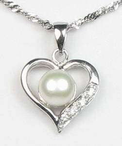925 Sterling Silver Pearl Heart Pendant Jewelry Gift for Her