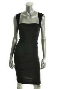 NICOLE MILLER $220 Black Square Neck Ruched Stretch Cocktail Dress NEW