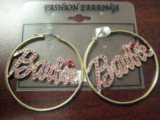 NEW NICKI MINAJ BARBIE HOOP EARRINGSGOLD PINK BE#3