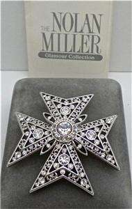 NOLAN MILLER Glamour Collection Clear Crystal Maltese Cross Pin  MIB