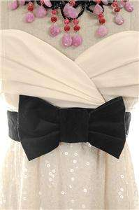 425 Betsey Johnson Evening Prom Glitterati Dress w Bow Cream 8