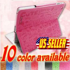 The New iPad 3/2 Slim Smart Cover PU Leather Case Wake/ Sleep Stand