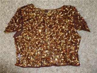NWT BANANA brown gold bronze metallic sequined shrug bolero top sz S M