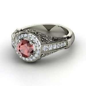 Primrose Ring, Round Red Garnet Platinum Ring with Diamond