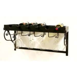 Six Bottle Wall Hanging Wine Holder with Glass Holder